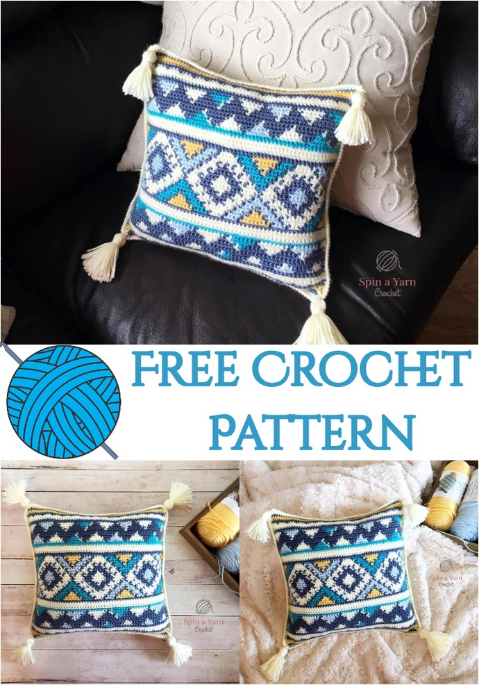 Aztec Throw Pillow Free Crochet Pattern