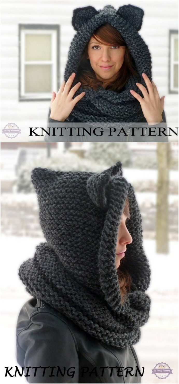 Cat Ears Hooded Infinity Scarf Knitting Pattern