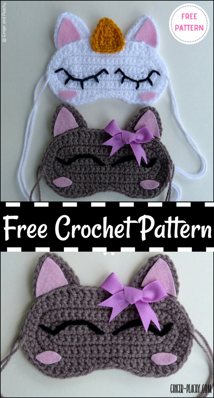 Cat & Unicorn Sleep Masks Free Crochet Pattern