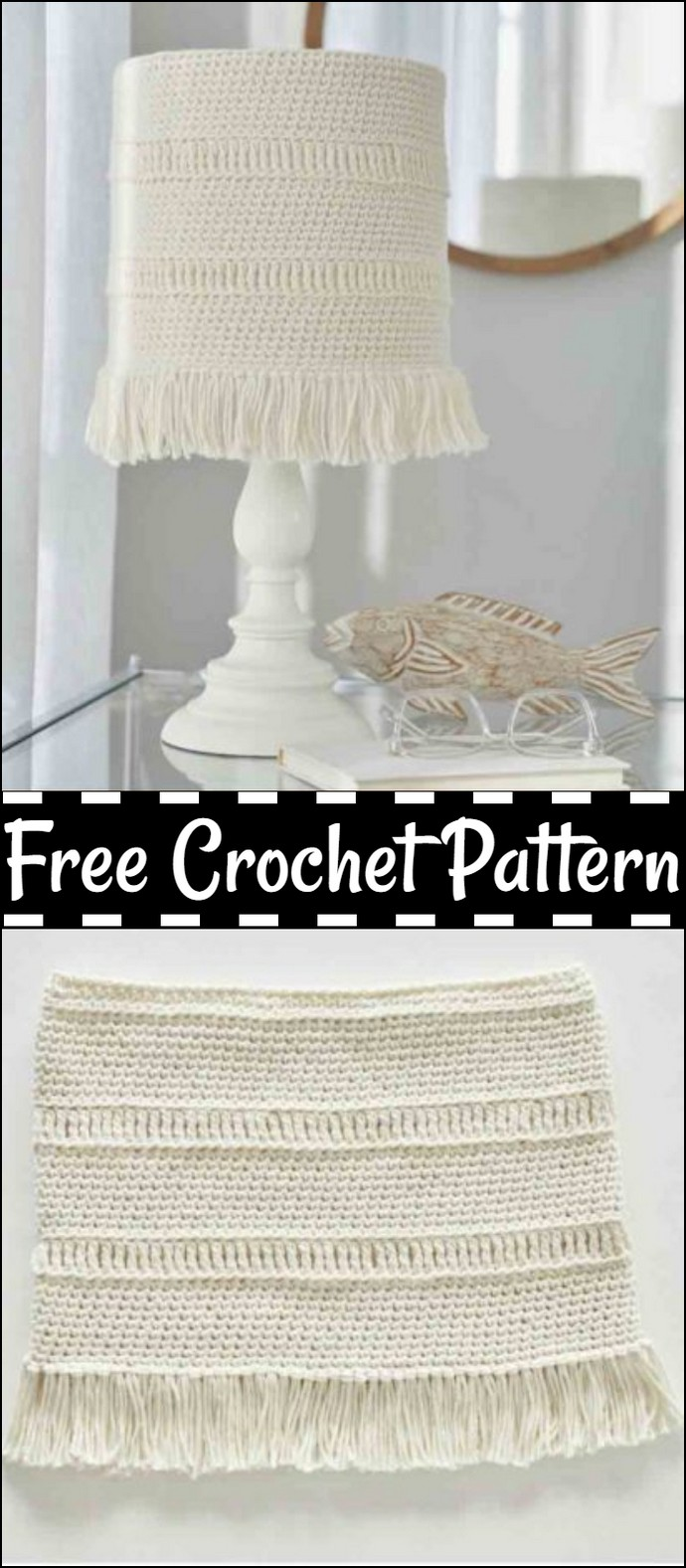 Coastline Lampshade Cover Free Crochet Pattern