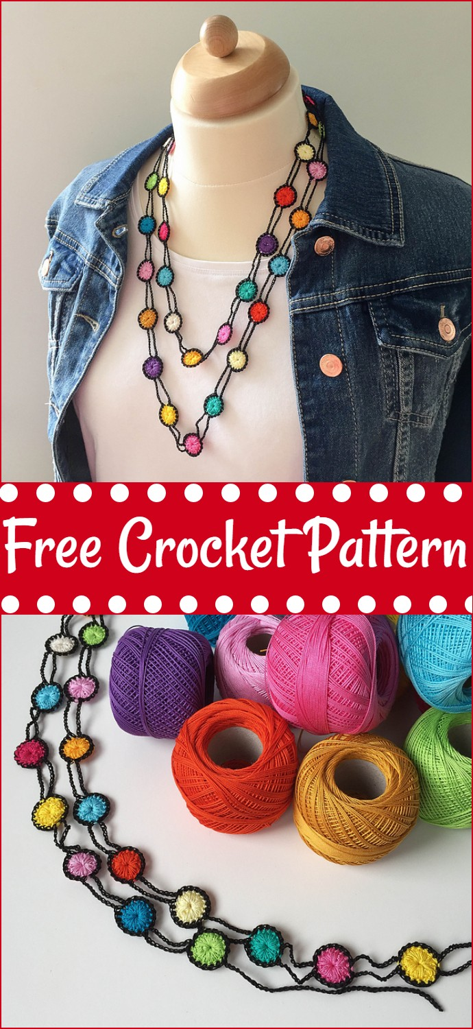 Colorful Free Crochet Necklace