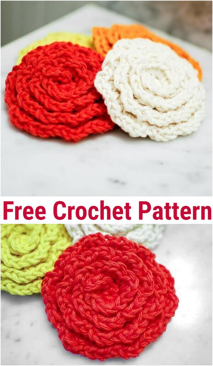 Crochet Flower Face Cleansing Pads Pattern