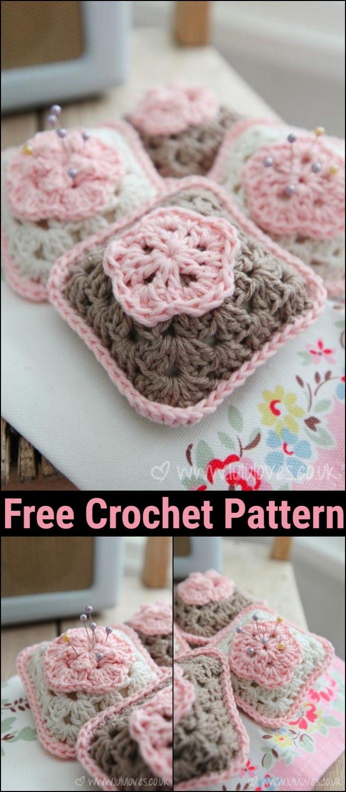 Crochet Pattern Granny Square Pincushion