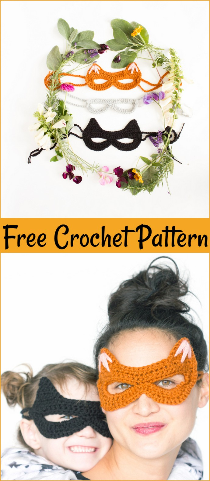 Crocheted Cat Mask Free Pattern