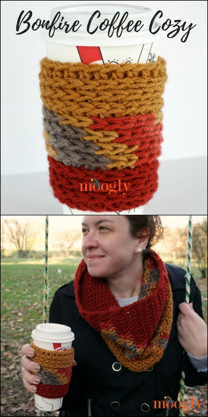 Free Crochet Bonfire Coffee Cozy
