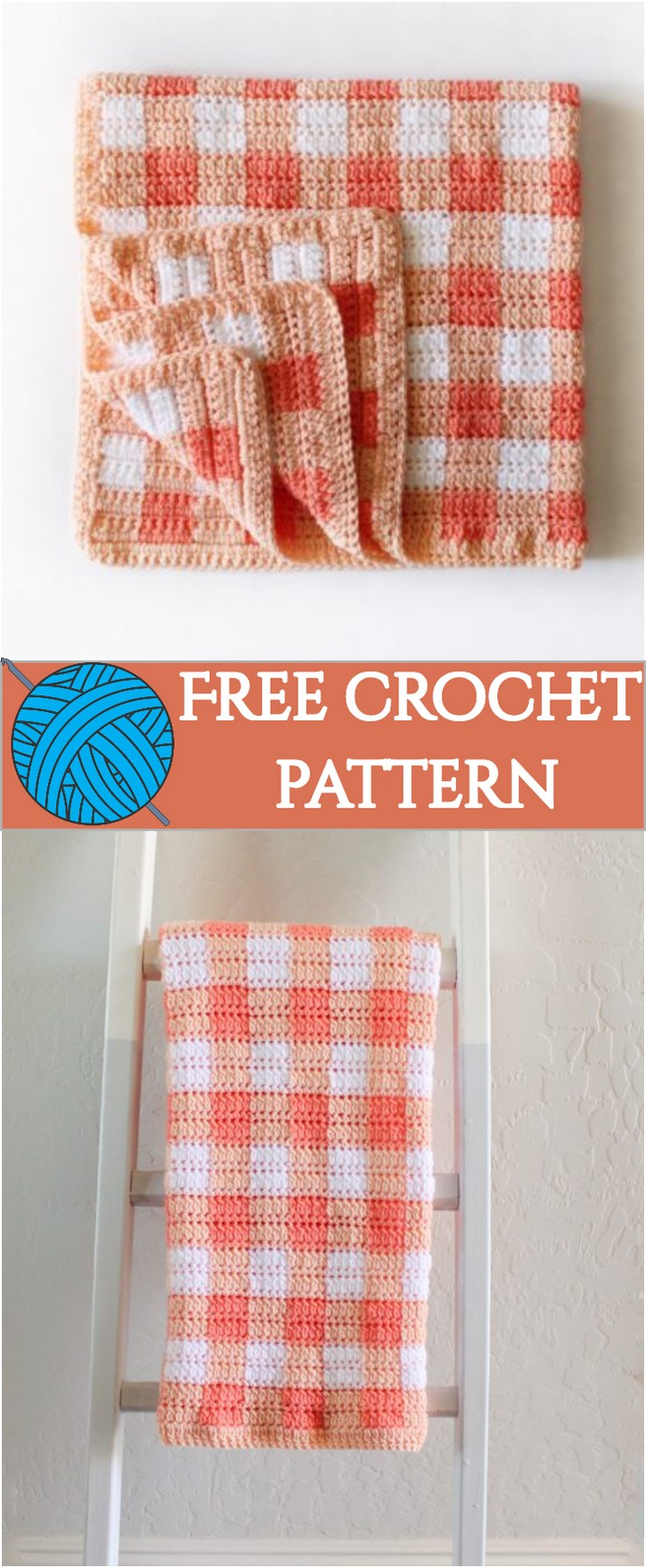Free Crochet Cluster Stitch Gingham Blanket: