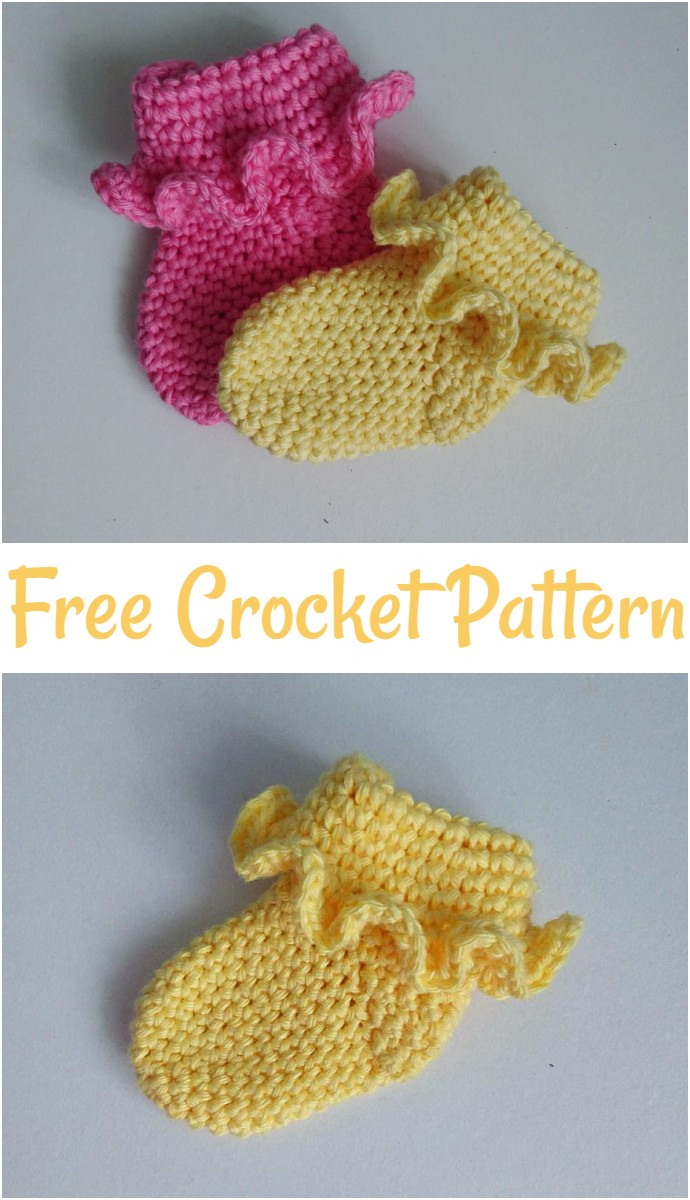 Free Crochet Frilled Newborn Socks