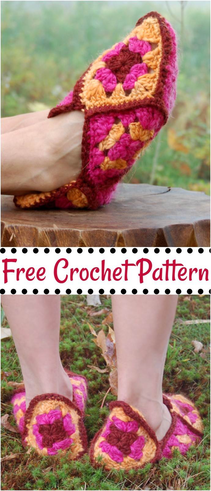 Free Crochet Granny Square Slippers
