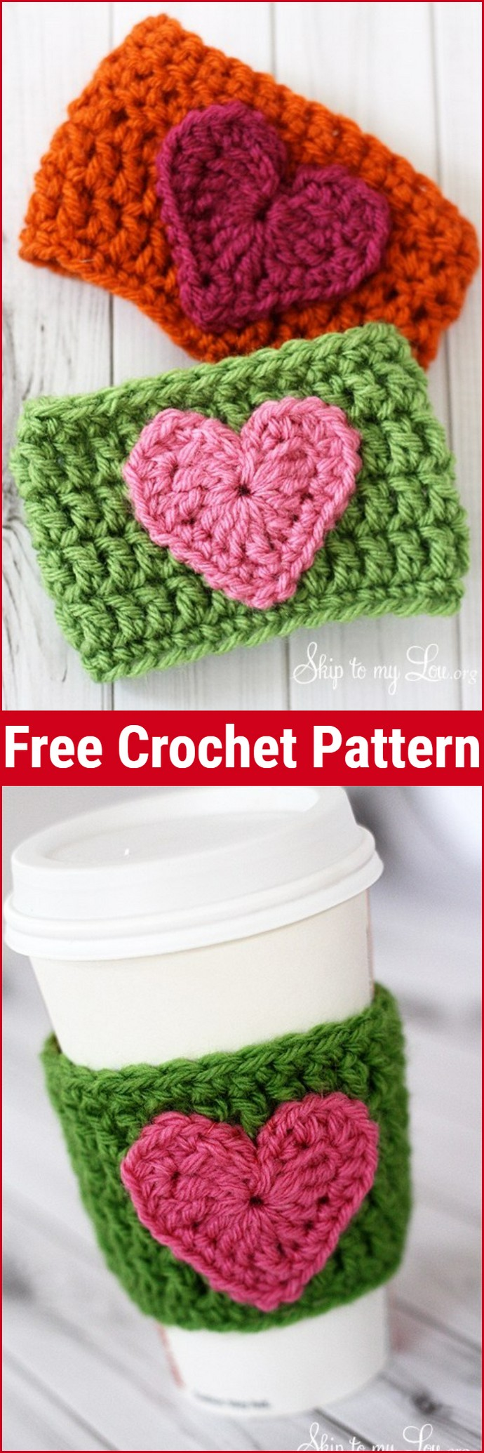 Free Crochet Heart Coffee Cozy