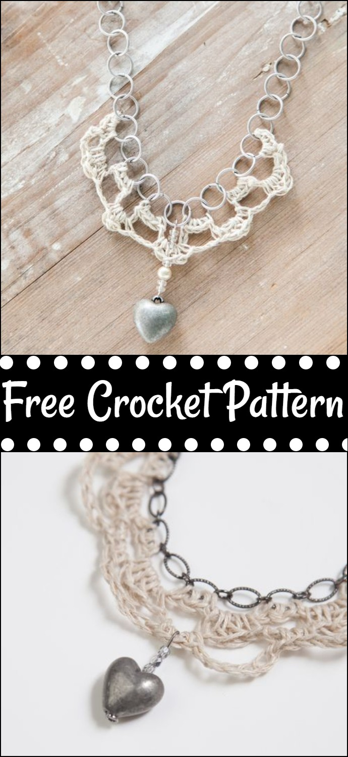 Free Crochet Hemp And Chain Necklace