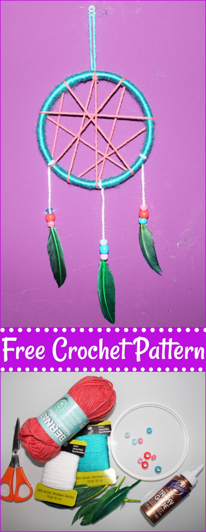 Free Crochet Kid Friendly Dream Catcher