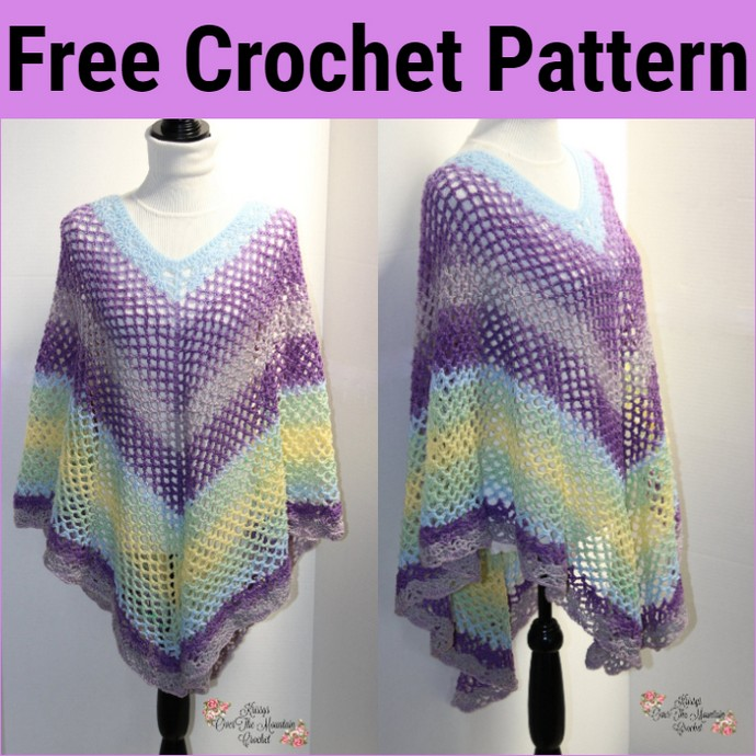 Free Crochet Mesh Over Brook Poncho