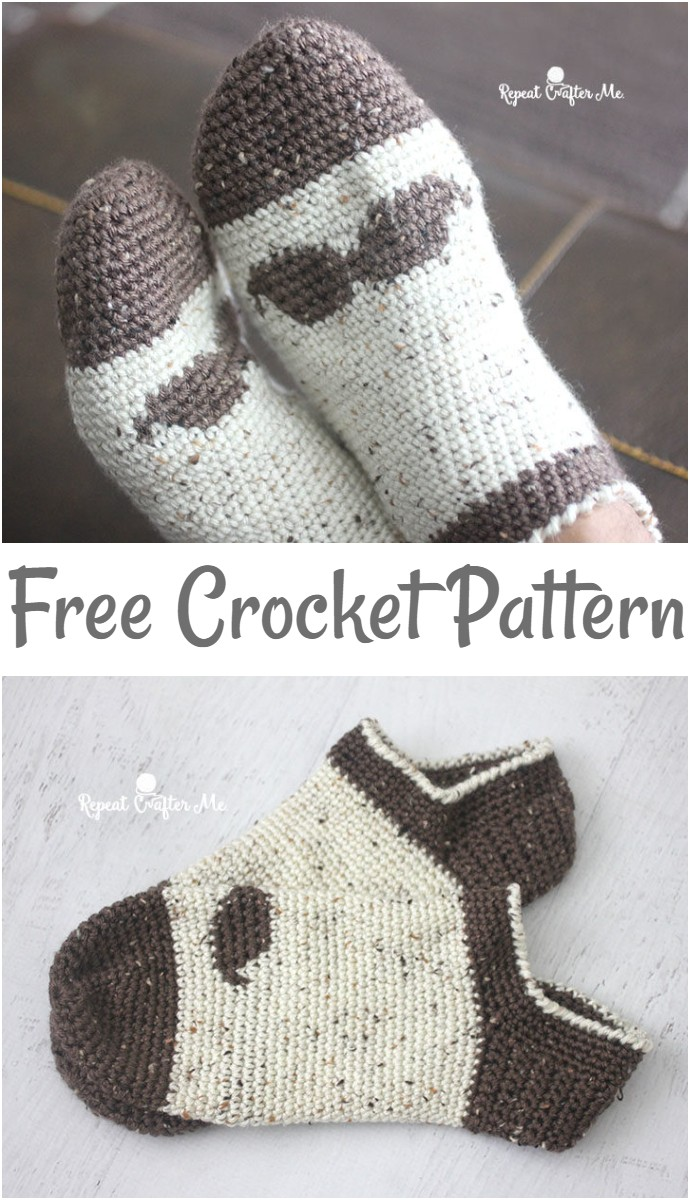 Free Crochet Mustache Slipper Socks For Men