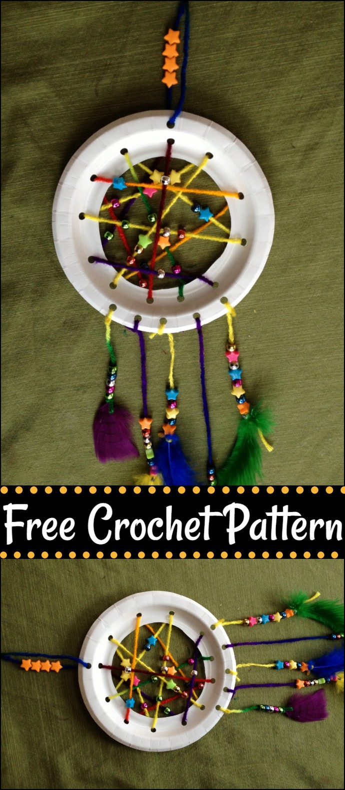 Free Crochet Paper Plate Dreamcatchers