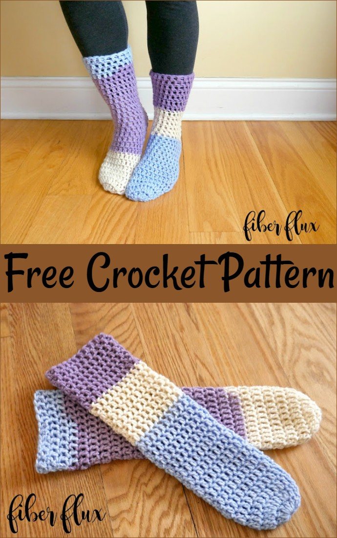 Free Crochet Pattern Home All Day Slipper Socks