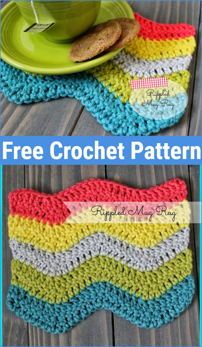 Free Crochet Rippled Mug Rug