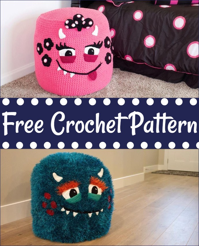 Monster Pouf Pouffe Crochet Pattern