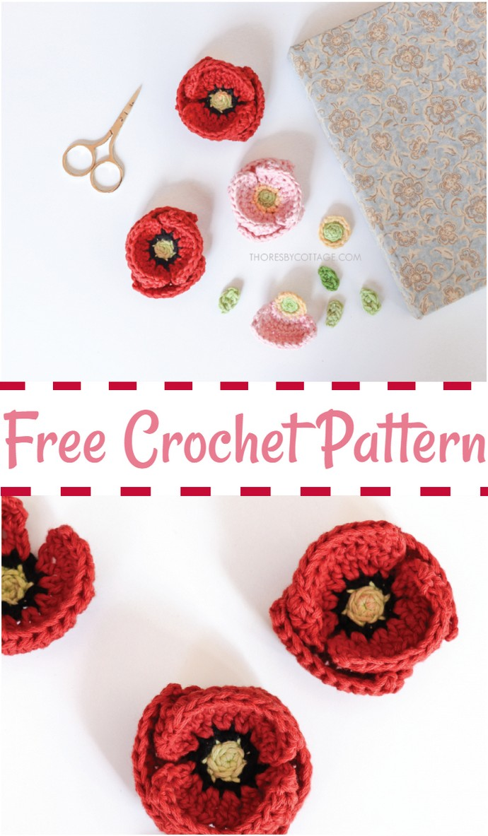 Poppy Flower Crochet Pattern