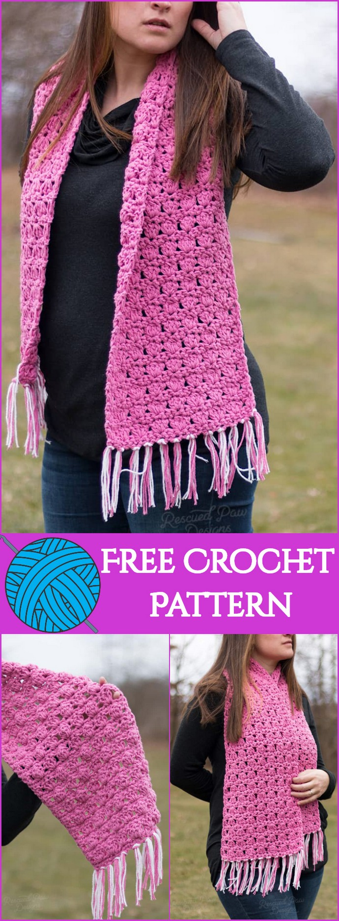Pretty In Pink Crochet Scarf
