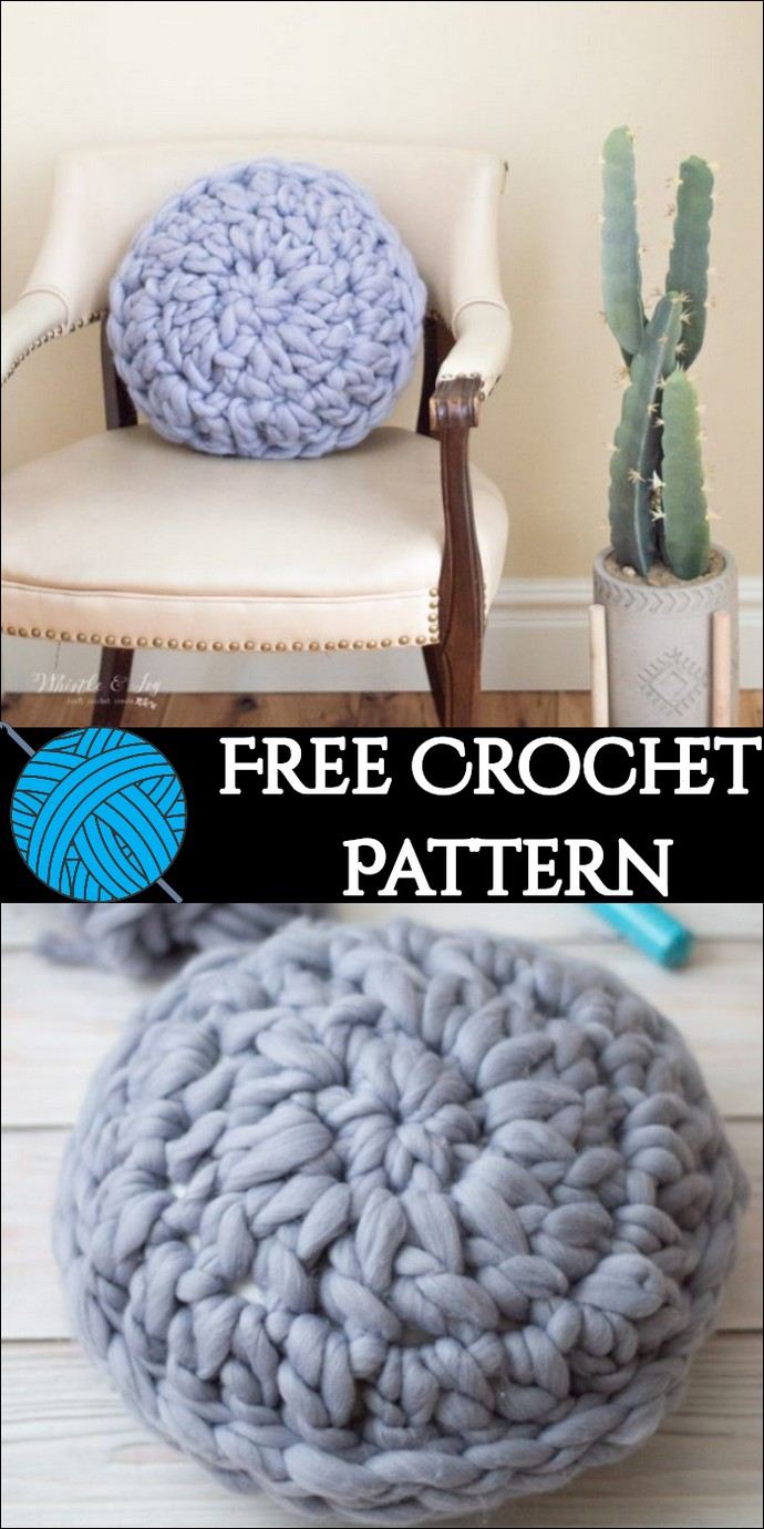 Round Super Chunky Crochet Pillow