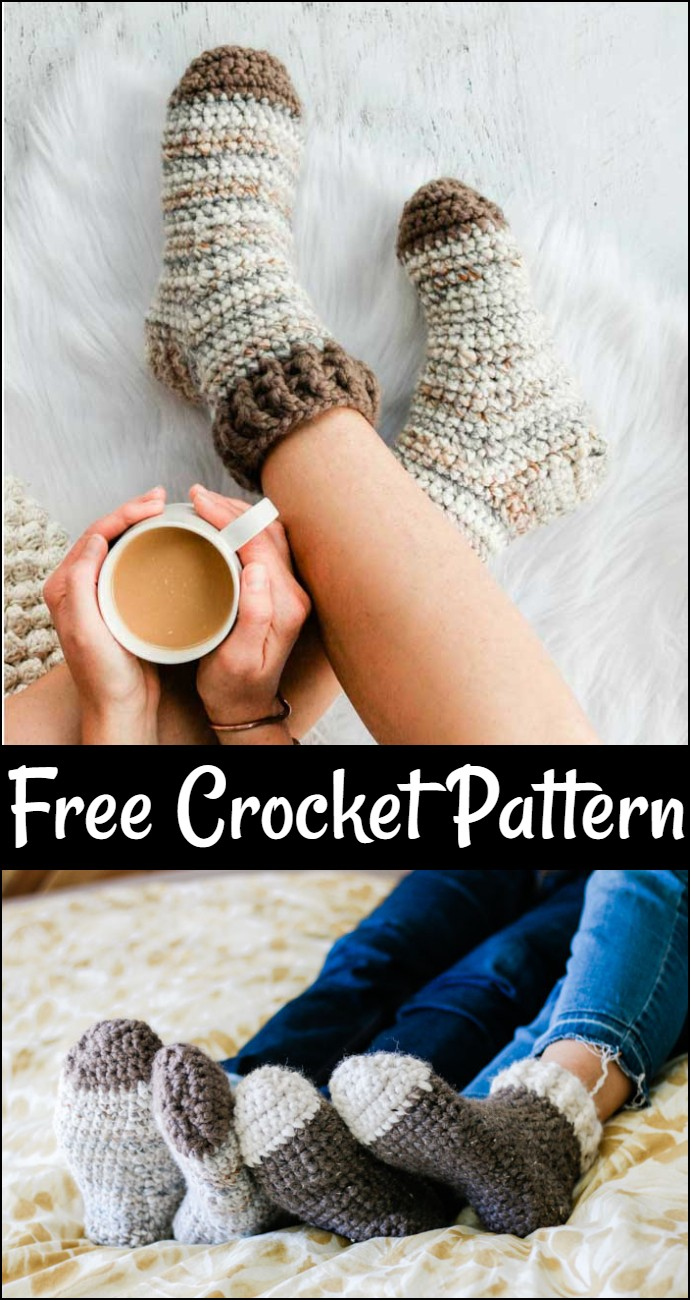 Snuggly Free Crochet Slipper Socks