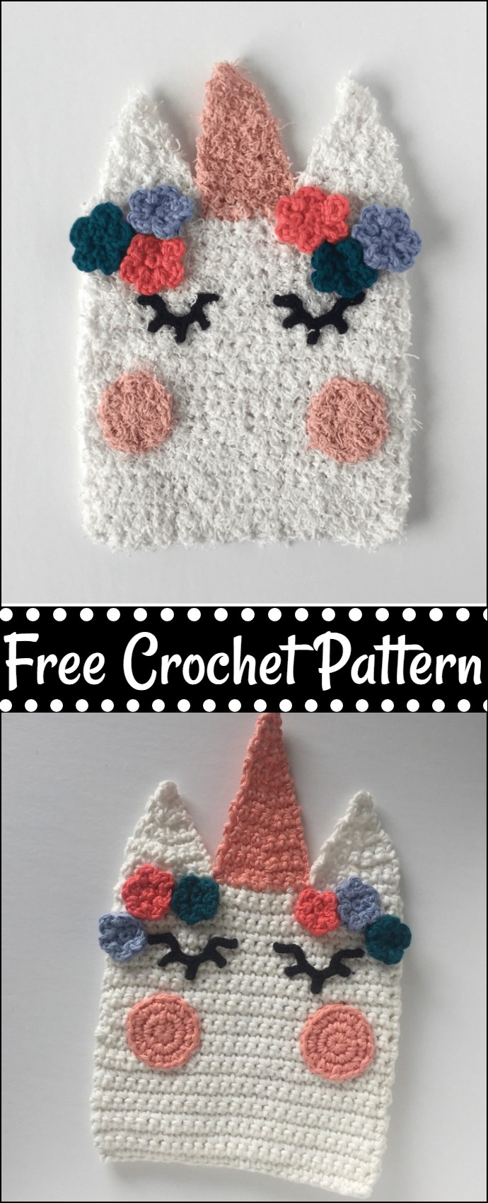 Unicorn Washcloth Free Crochet Pattern
