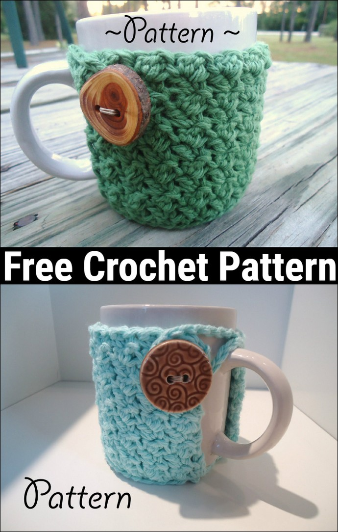 ree Crochet Textured Coffee Mug Cozy Pattern