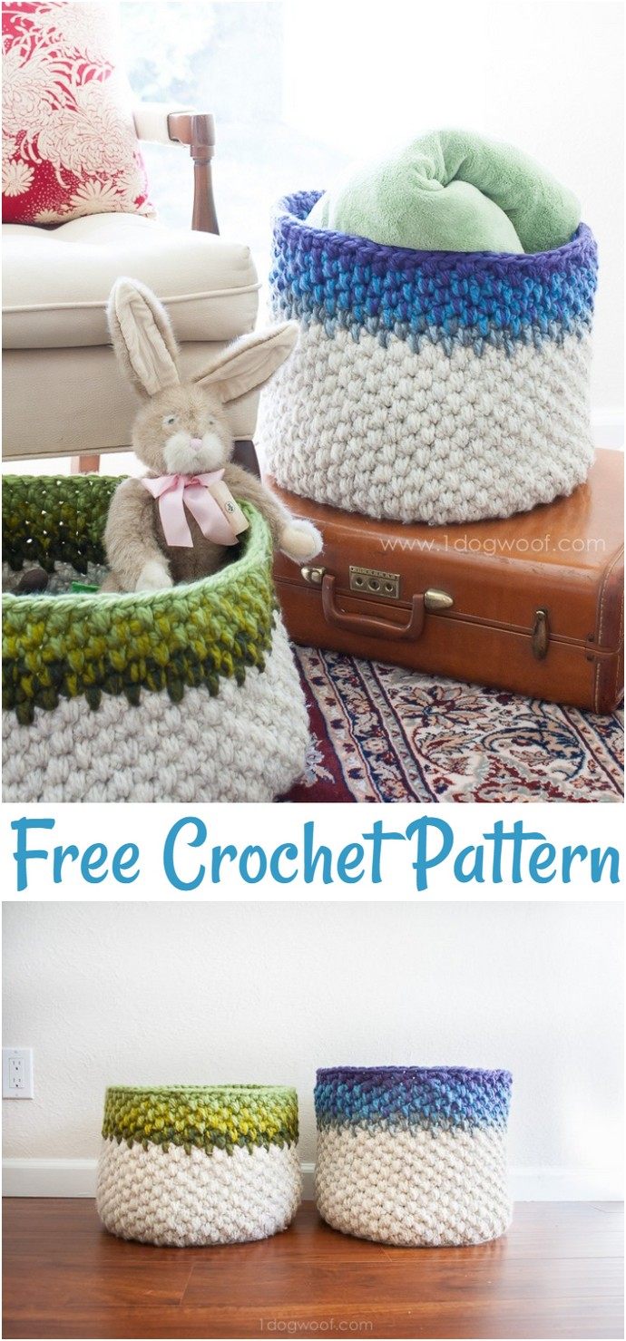 Color Block Crochet Basket Pattern
