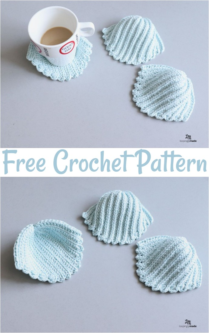 Easy Sea Shell Crochet Coasters Free Pattern