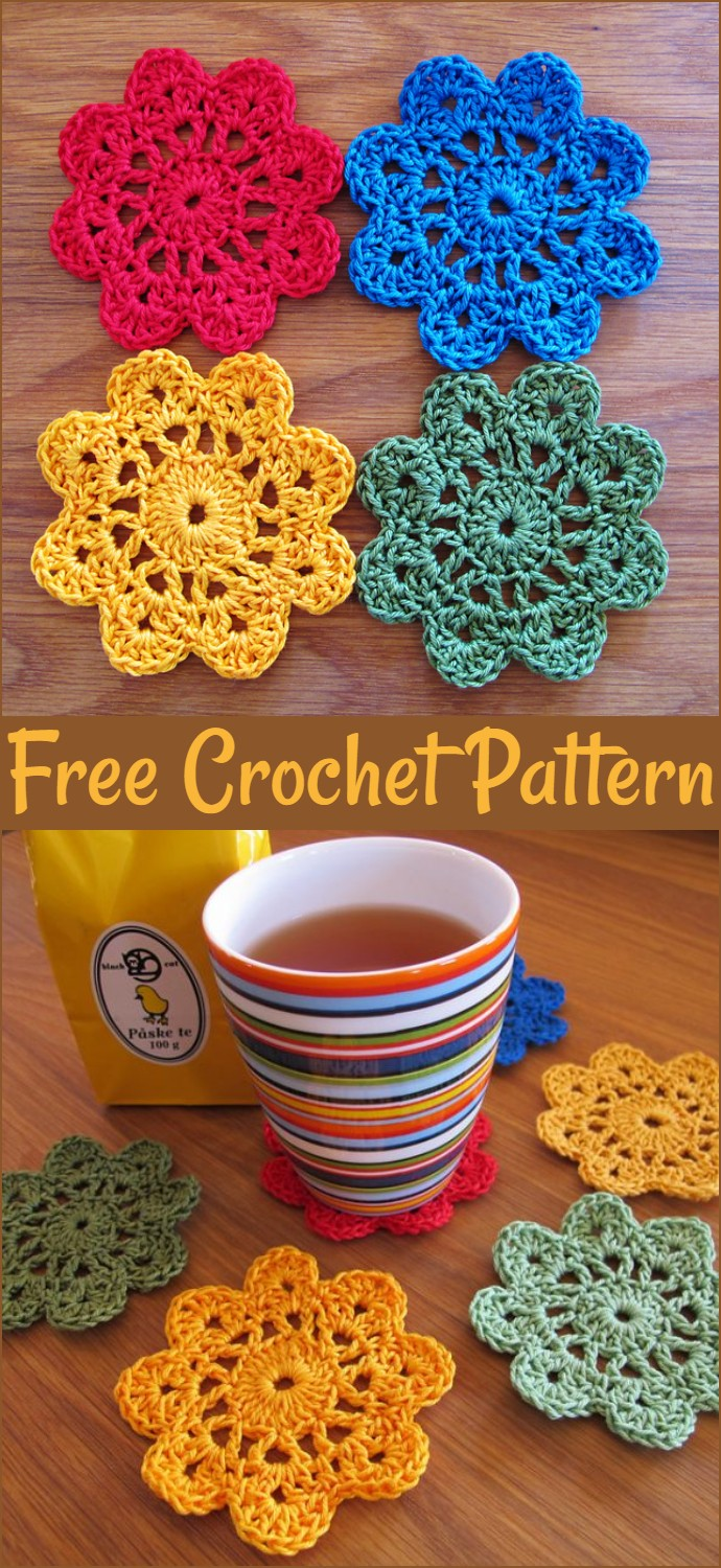 Flower Coasters Free Crochet Pattern