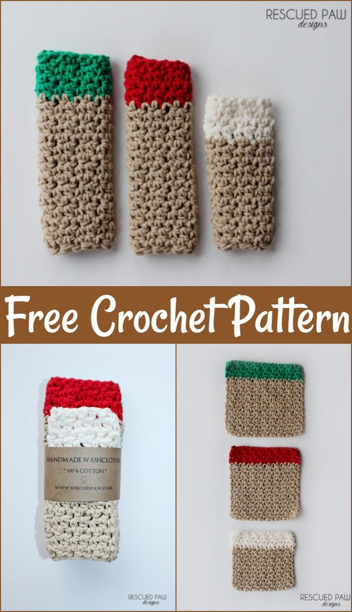 Free Christmas Washcloth Crochet Pattern