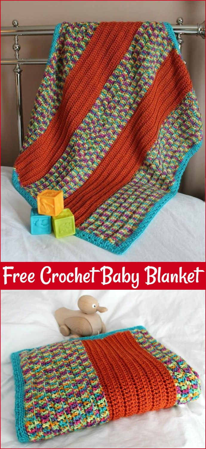 Free Crochet Broad Stripe Baby Blanket