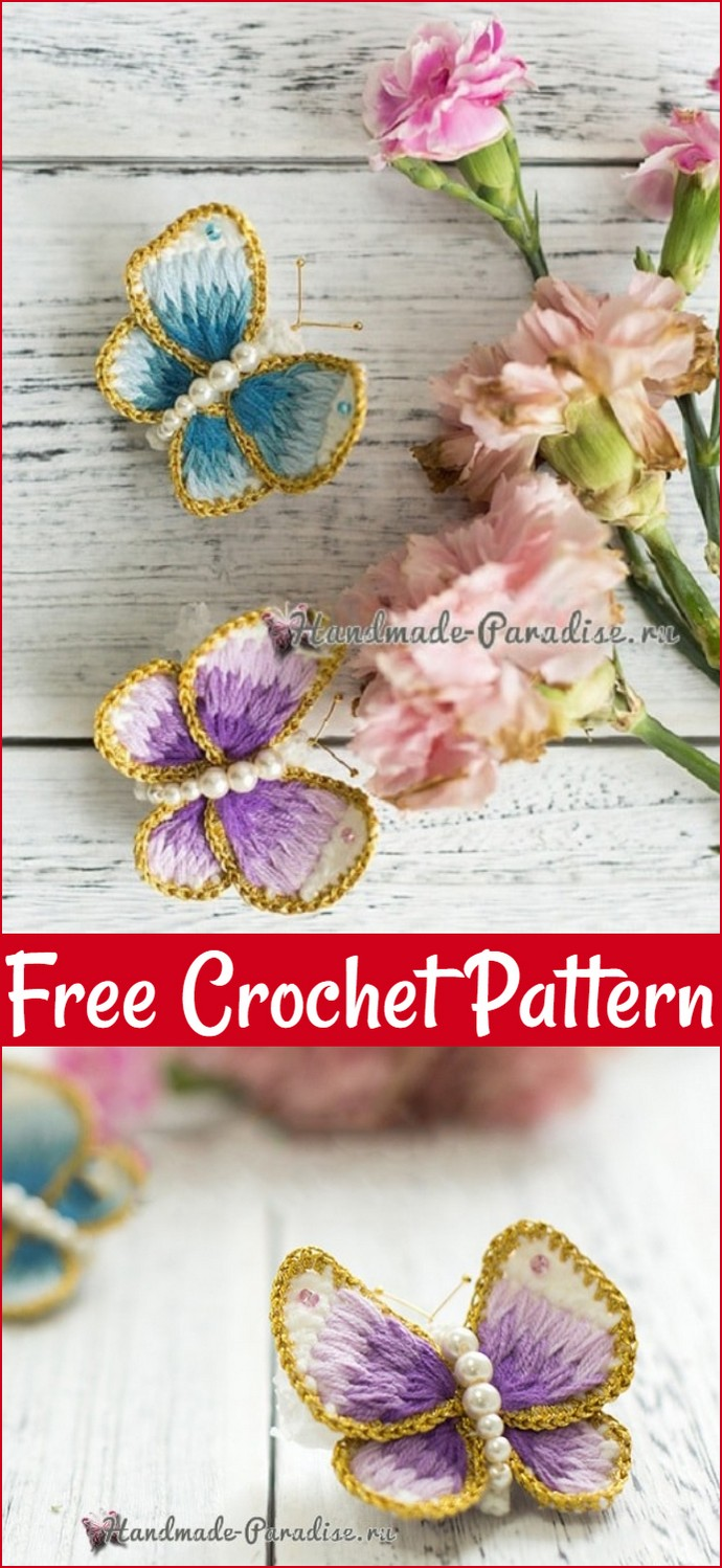 Free Crochet Brooch Butterfly With Embroidery