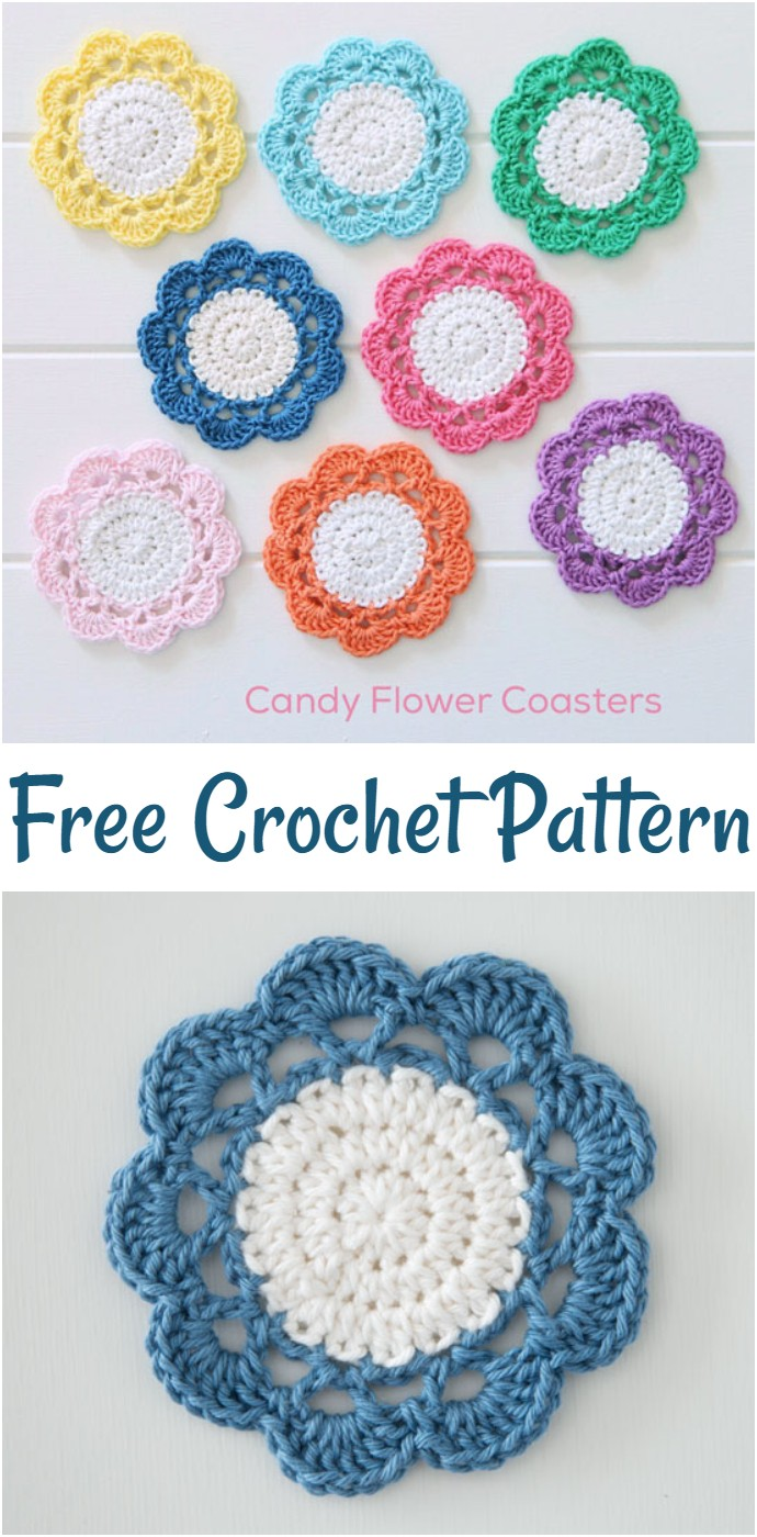 Free Crochet Candy Flower Coaster Pattern