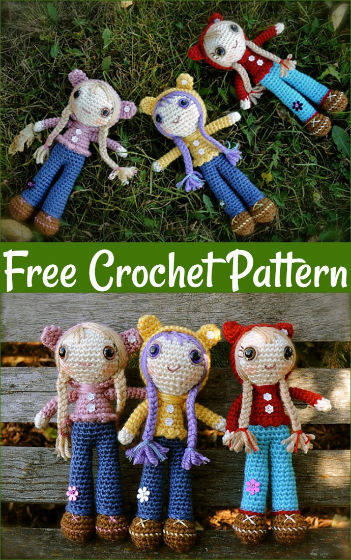 Free Crochet Doll In Bear Hoodie