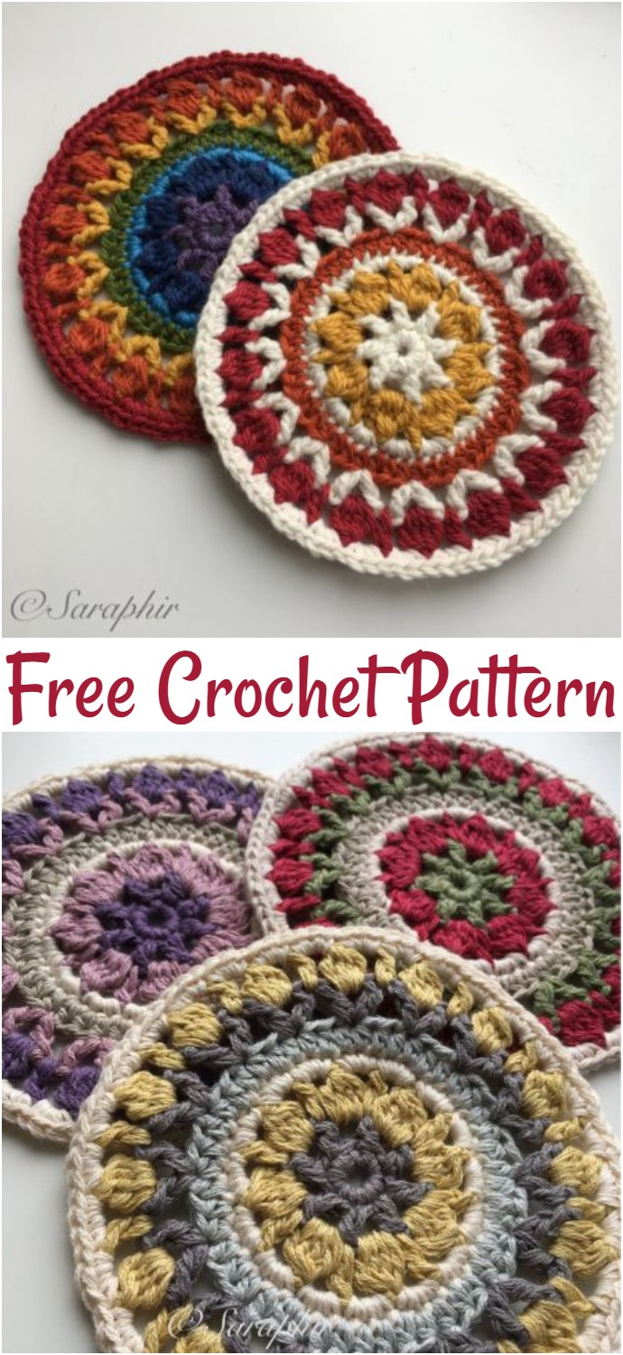 Free Crochet Flower Wheel Coaster