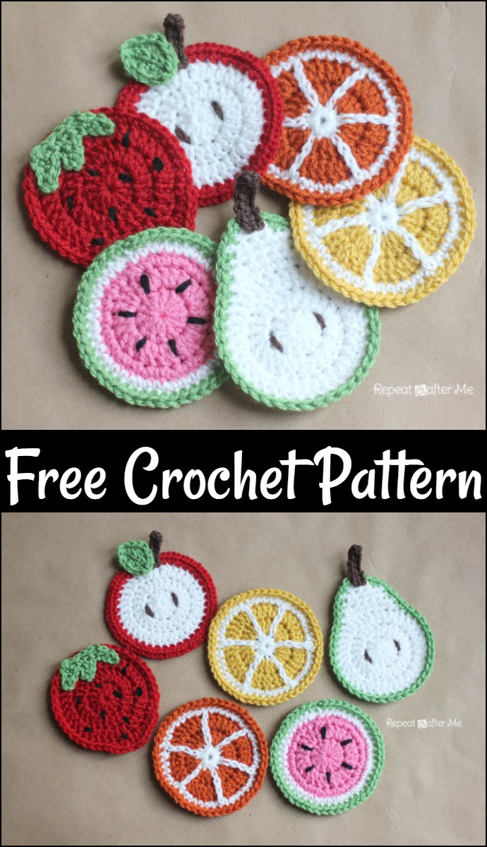 Free Crochet Fruit Coasters Pattern