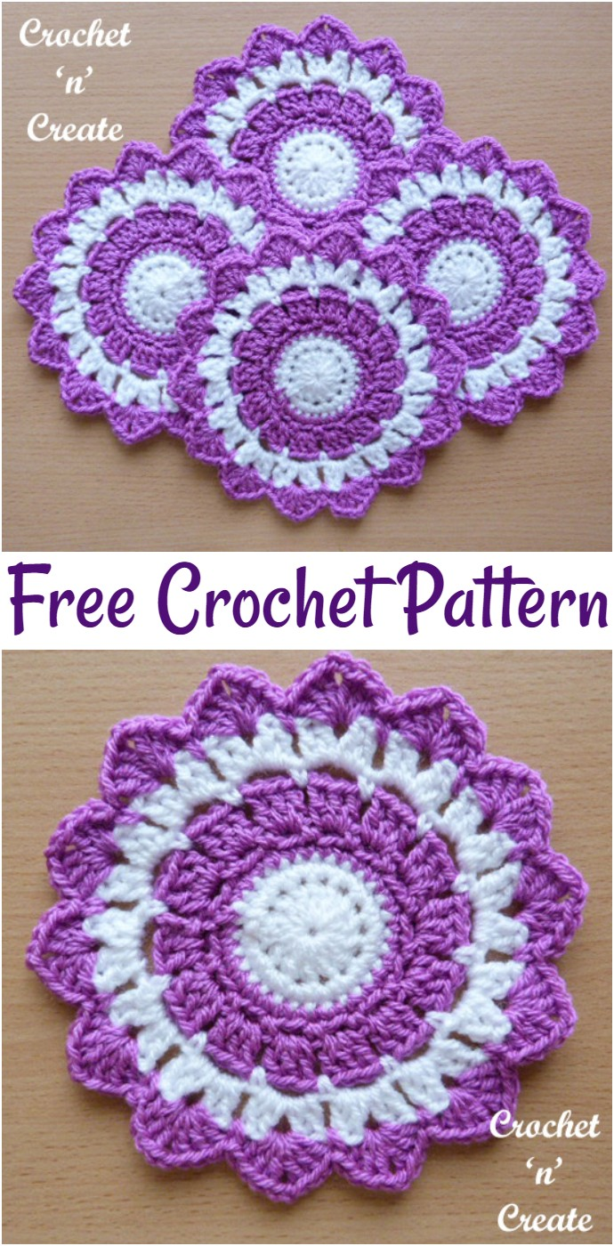 Free Crochet Large Coaster
