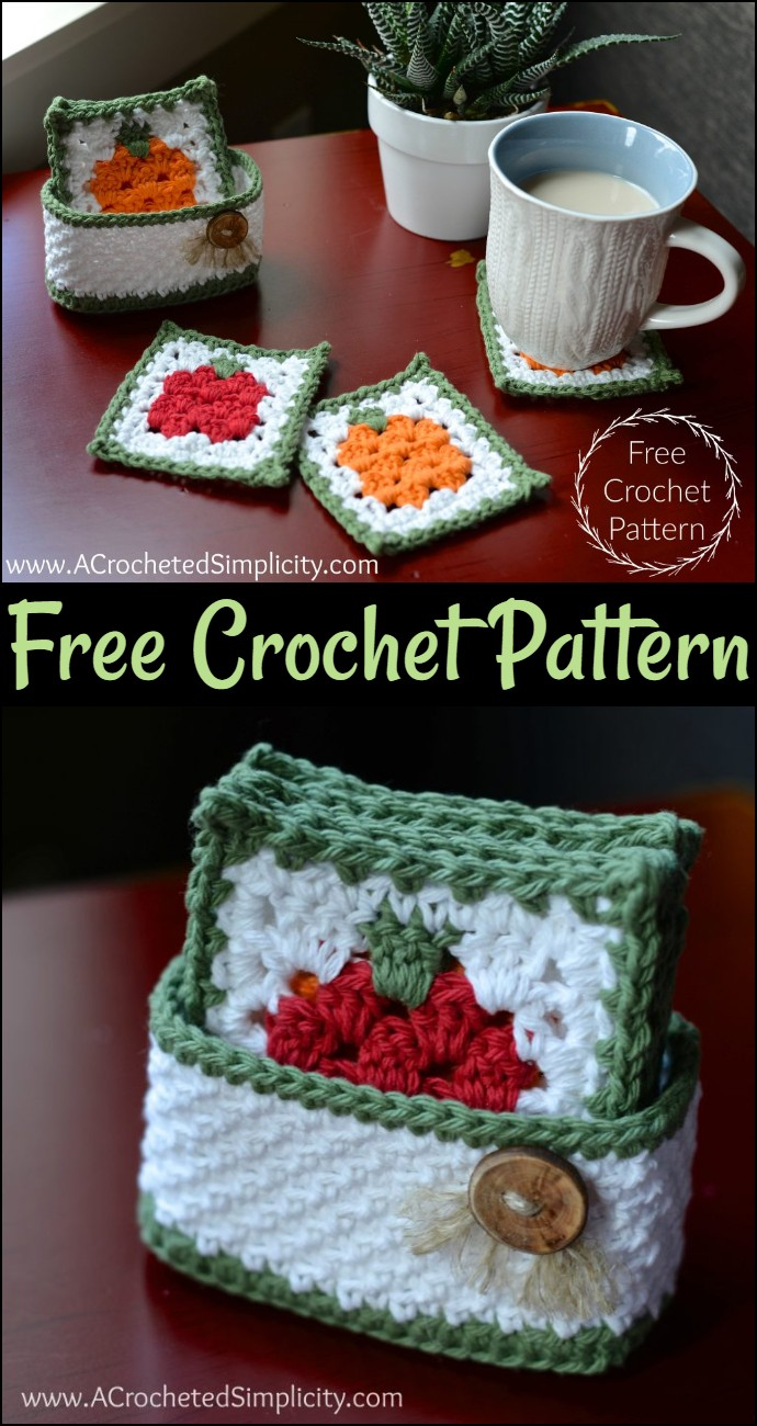 Free Crochet Pattern Fall Harvest Coaster Set