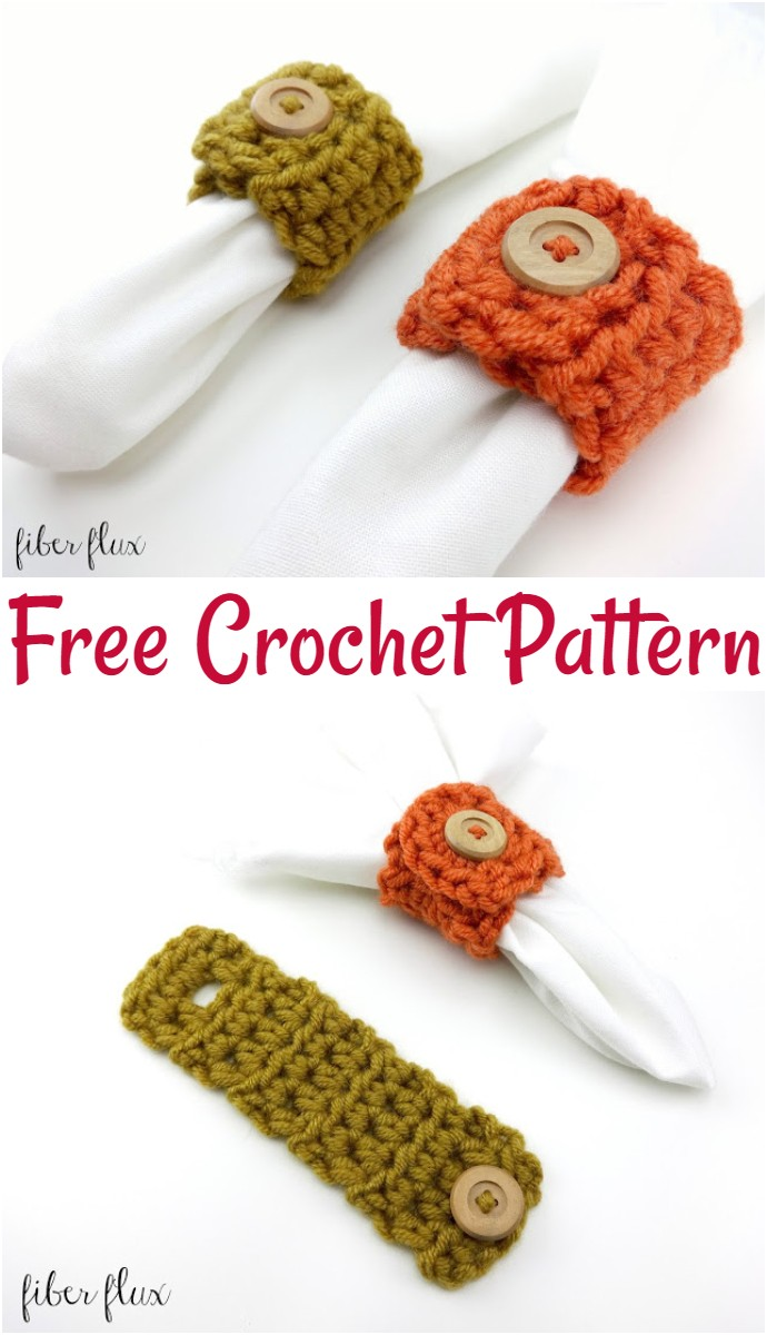 Free Crochet Pattern Harvest Button Napkin Ring