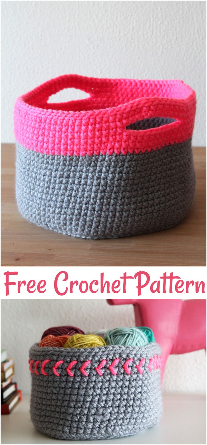 Free Crochet Pattern Neon Touch Baskets