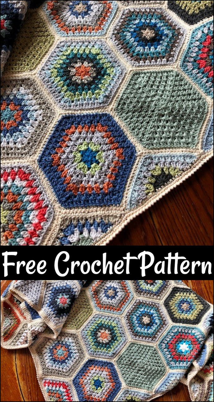 Free Crochet Pattern Painted Hexagons Blanket