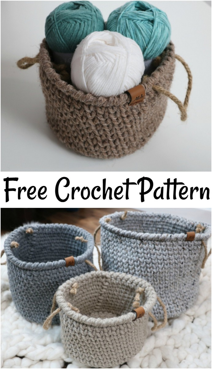 Free Crochet Pattern Rustic Farmhouse Style Basket