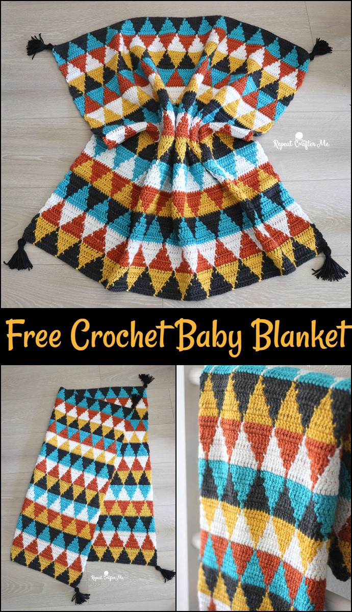 Free Crochet Triangle Baby Blanket
