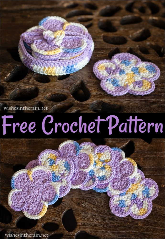 Free Pattern Sunshine Flower Coasters