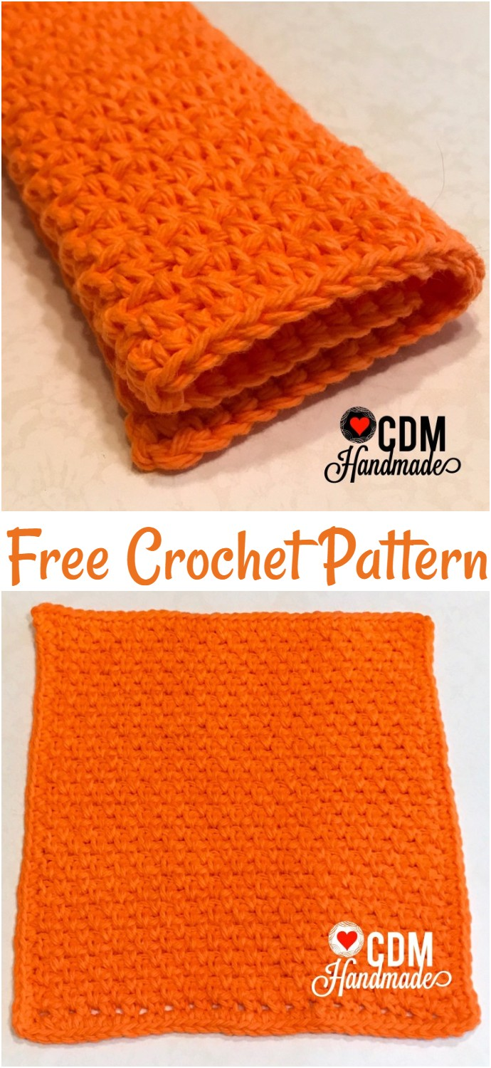 Moss Stitch Free Crochet Washcloth