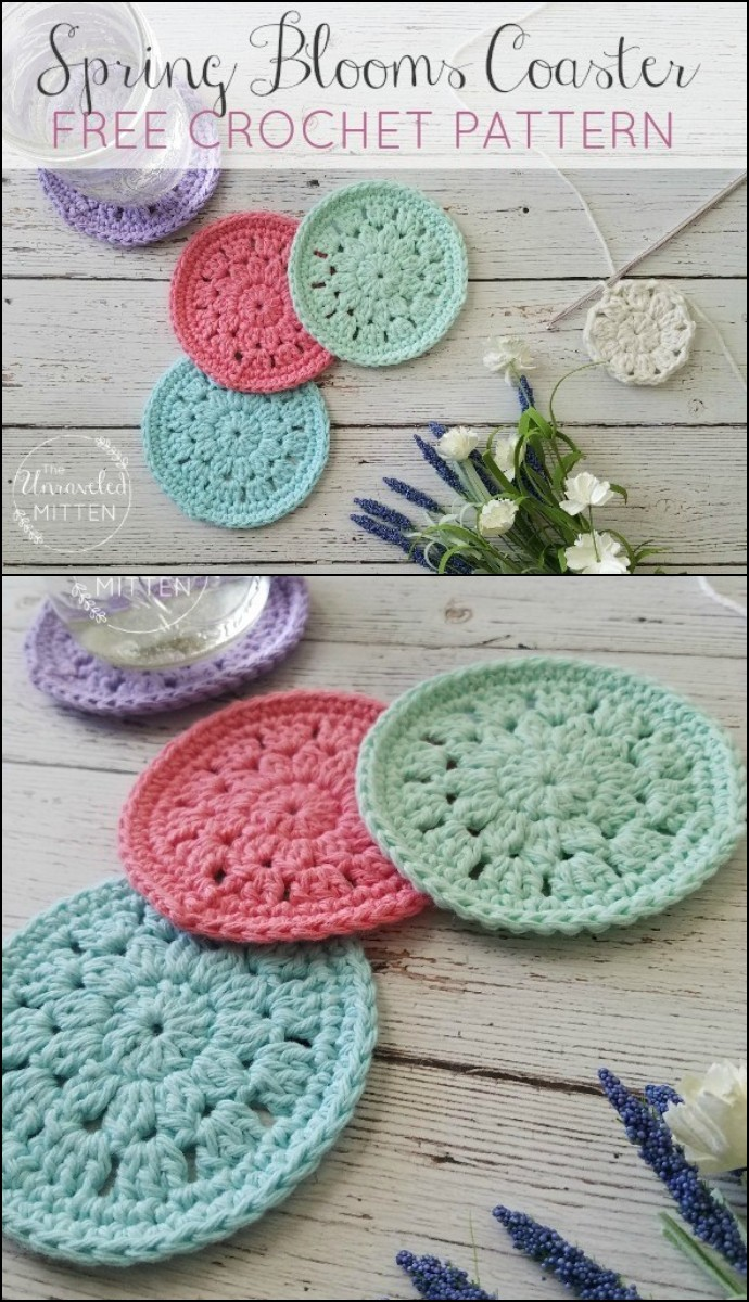Spring Blooms Crochet Coaster Free Pattern