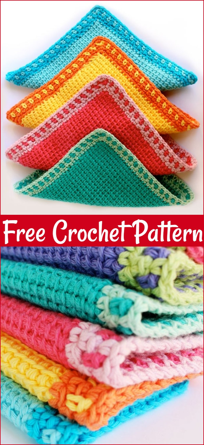 Tunisian Free Crochet Washcloths